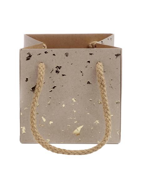 Torba na prezent Carat, 3szt., Brązowy, odcienie złotego, S 11 x W 11 cm
