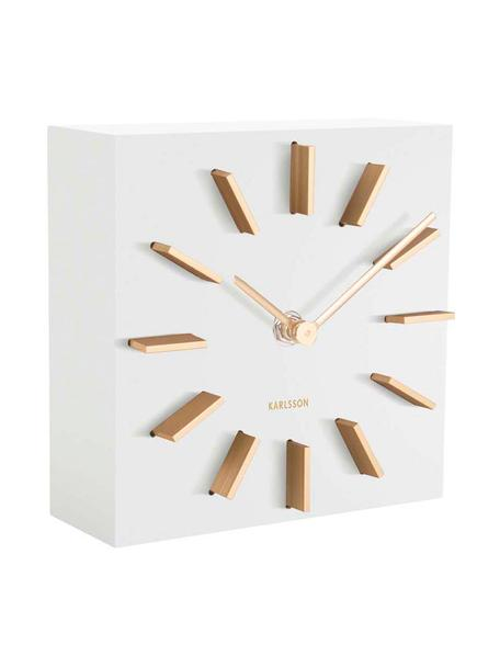 Orologio Discreet, Pannello di fibra a media densità (MDF), Bianco, dorato, Larg. 15 x Alt. 15 cm