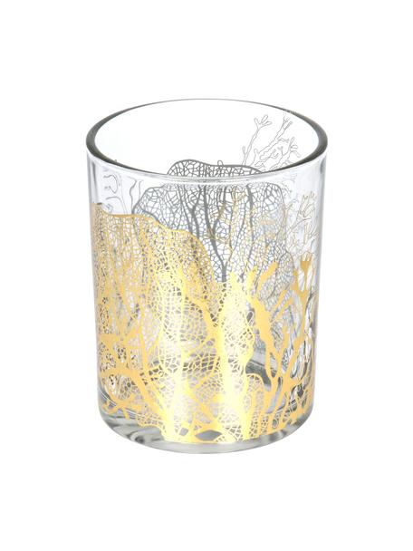Teelichthalter Jules, Glas, Transparent, Goldfarben, Ø 10 x H 13 cm