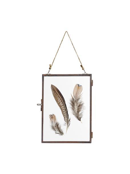 Bilderrahmen Pioros mit Federn, Rahmen: Metall, beschichtet, Front: Glas, Kupfer, Transparent, 13 x 18 cm
