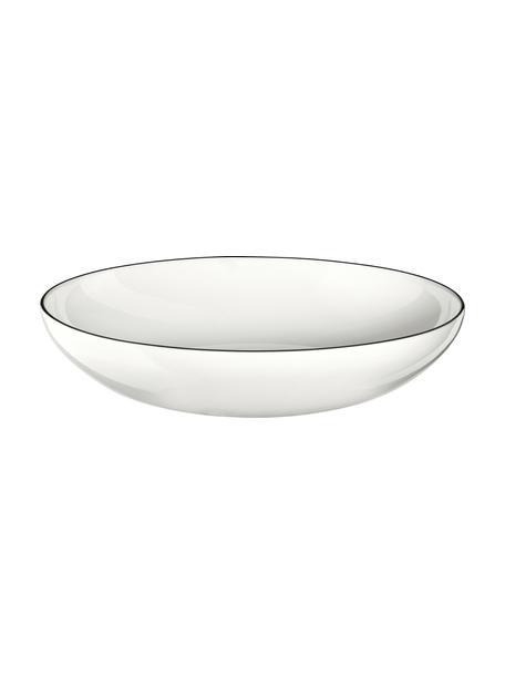 Platos de pasta Á Table Ligne Noir, 4uds., Porcelana Fine Bone China (fina de hueso) Fine Bone China es una pasta de porcelana fosfática que se caracteriza por su brillo radiante y translúcido., Blanco, negro, Ø 22 x Al 5 cm
