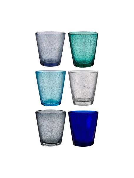 Waterglazen Baita in blauwe tinten en met luchtbellen, 6-delig, Glas, Blauwtinten, Ø 9 x H 10 cm