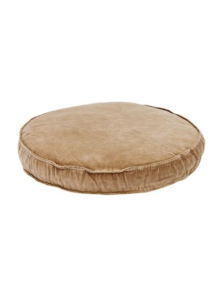 Cuscino sedia in velluto Runda, Retro: 100% cotone, Rosa cipria, Ø 60 x Alt. 6 cm