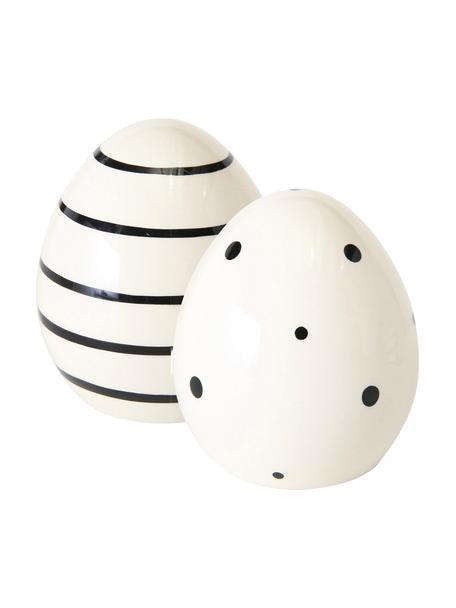 Deko-Objekte-Set Finn, 2-tlg., Steingut, Weiß, Schwarz, Ø 7 x H 8 cm