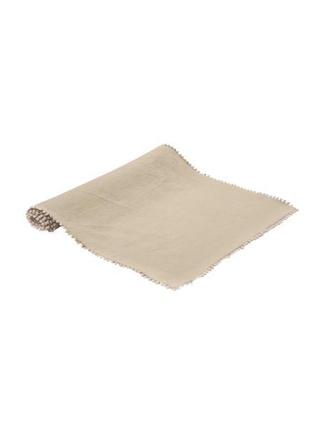 Runner da tavolo in lino Pom Pom, Lino, Beige, Larg. 40 x Lung. 150 cm