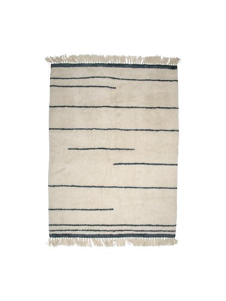 Tappeto in lana beige / grigia con frange Nora, Beige, antracite, Larg. 140 x Lung. 200 cm (taglia S)