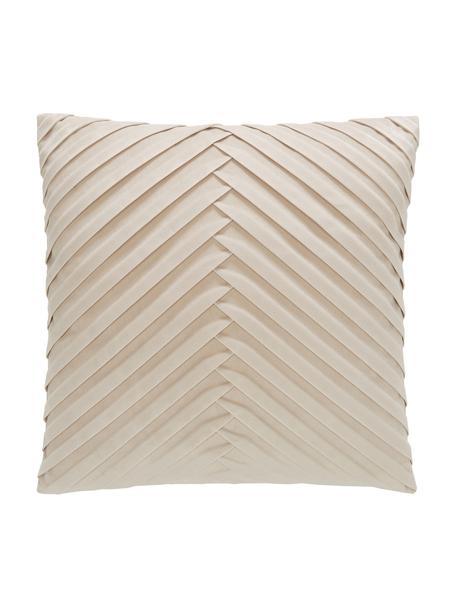 Poszewka na poduszkę z aksamitu Lucie, 100% aksamit (poliester) Należy pamiętać, że aksamit może wydawać się jaśniejszy lub ciemniejszy w zależności od kata padania światła, Odcienie szampańskiego, S 45 x D 45 cm