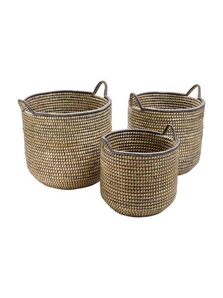 Set de cestas Stormy, Algas marinas, Beige, negro, Set de diferentes tamaños