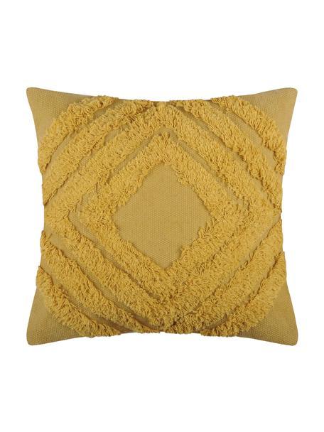 Cuscino boho con imbottitura Greenmood, Rivestimento: 100% cotone, Giallo senape, Larg. 40 x Lung. 40 cm