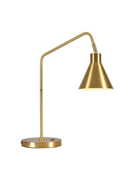 Lámpara de escritorio grande Lyon, Pantalla: metal recubierto cepillad, Cable: cubierto en tela, Dorado, An 55 x Al 54 cm