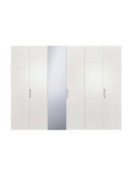 Witte kledingkast Madison, met spiegeldeur, Frame: panelen op houtbasis, gel, Wit, 302 x 230 cm