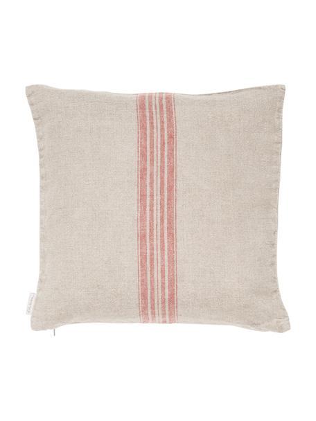 Linnen kussenhoes Jara, Beige, rood, 40 x 40 cm