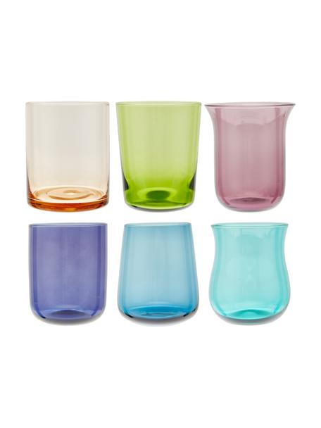 Vasos soplados artesanalmente Desigual, 6uds., Vidrio soplado artesanalmente, Multicolor, Al 10 cm
