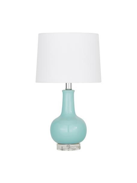 Keramik-Tischlampe Brittany, Lampenschirm: Textil, Lampenfuß: Keramik, Sockel: Kristallglas, Weiß, Türkis, Ø 28 x H 48 cm