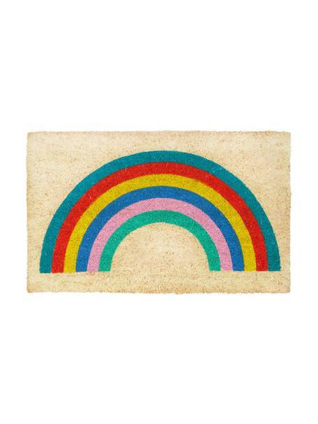 Fußmatte Rainbow mit Regenbogen Motiv, Oberseite: Kokosfaser, Unterseite: Kunststoff (PVC), Beige, Mehrfarbig, 45 x 75 cm