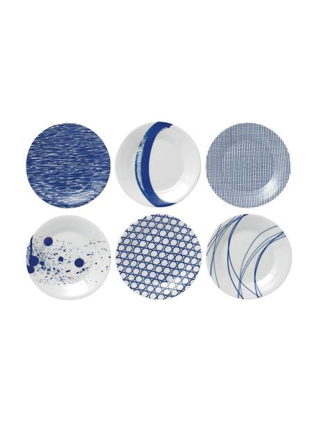 Set 6 piatti per pane Pacific, Porcellana, Bianco, blu pacifico, Ø 16 cm