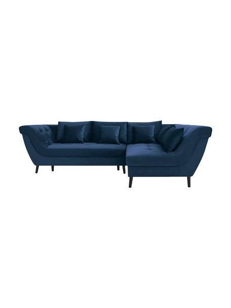 Sofa narożna z funkcją spania z aksamitu Real, Tapicerka: 100% aksamit poliestrowy, Nogi: metal lakierowany, Granatowy, S 296 x G 172 cm