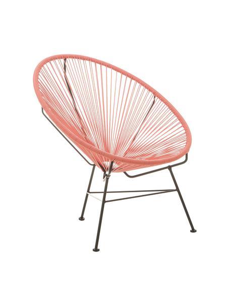 Fotel wypoczynkowy ze splotu z tworzywa sztucznego Bahia, Stelaż: metal malowany proszkowo, Pomarańczowy, S 81 x G 73 cm