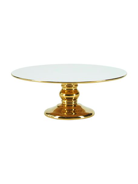Tortenplatte Tarta, Keramik, Weiß, Goldfarben, Ø 26 x H 10 cm
