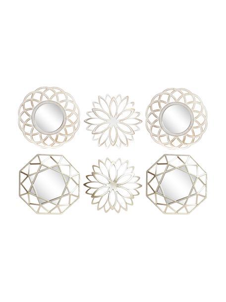 Set de decoración de pared Karo, 6pzas., Polipropileno Espejo de cristal Cartón, Champán, blanco, Ø 25 cm