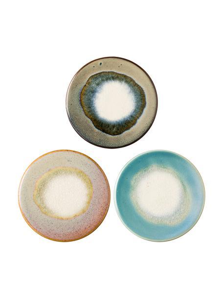 Keramik-Untersetzer Felicitas mit Cracquelé-Glasur, 3er-Set, Unterseite: Kork, Blautöne, Brauntöne, Rosatöne, Grüntöne, Ø 11 x H 1 cm