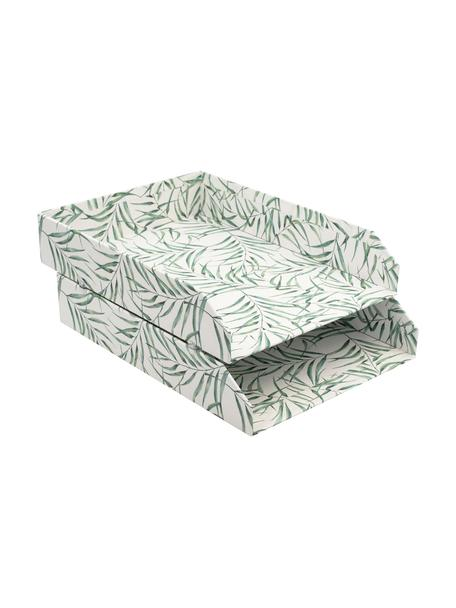 Organizador de documentos Leaf, 2pzas., Cartón laminado macizo, Blanco, verde, An 23 x F 31 cm