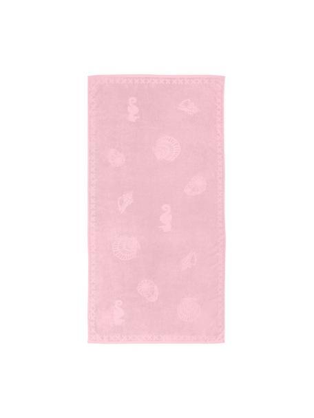 Strandlaken Shells, Bovenzijde: fluweel (egyptisch katoen, Onderzijde: Frottee (katoen) Licht ma, Roze, 100 x 200 cm