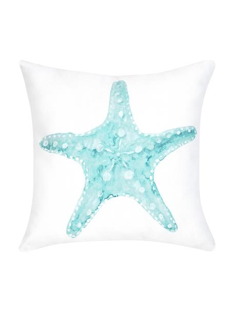 Kissenhülle Korallion mit Print in Aquarelloptik, 100% Baumwolle, Blau, Weiß, 40 x 40 cm