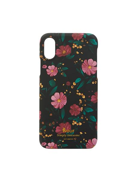 Cover  per iPhone X Black Flowers, Silicone, Multicolore, Larg. 7 x Alt. 15 cm