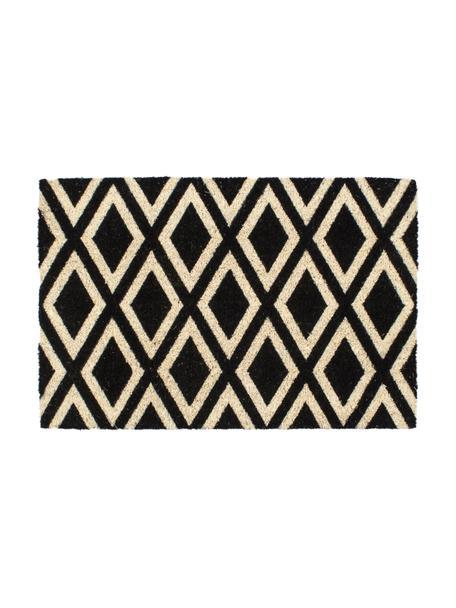 Deurmat Rhombi, Bovenzijde: kokosvezels, Onderzijde: kunststof (PVC), Zwart, crèmekleurig, 40 x 60 cm