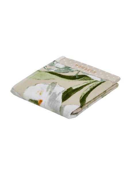 Handdoek Rosalee in verschillende formaten, met bloemenpatroon, Katoen, Beige, wit, groen, oranje, Gastendoekje