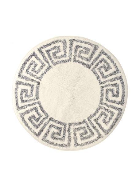 Grote ronde badmat Greek, antislip, Bovenzijde: 100% katoen, Onderzijde: silicone, Crèmekleurig, grijs, Ø 120 cm