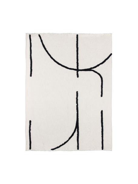 Boho-Decke Lina mit Fransenabschluss und getufteter Verzierung, 70% Baumwolle, 30% Polyester, Gebrochenes Weiß, Schwarz, 130 x 170 cm