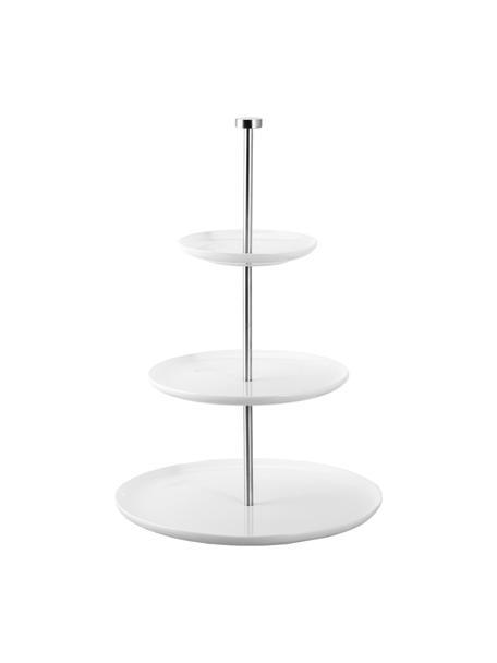 Keramik Etagere Karo, Ø 30 cm, Keramik, Metall, Weiß, Ø 30 x H 47 cm