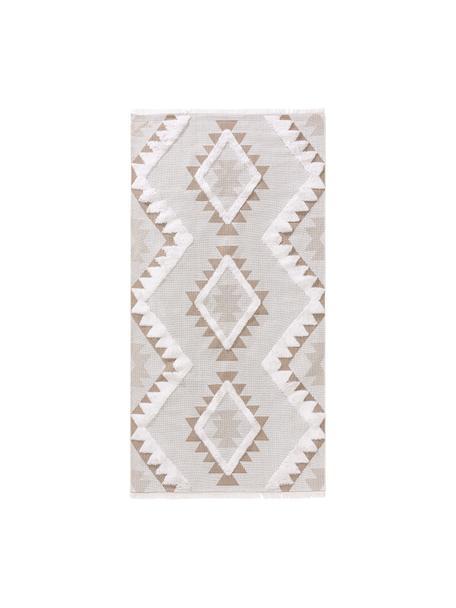 Waschbarer Baumwollteppich Oslo Aztec mit Hoch-Tief-Struktur und Fransen, 100% Baumwolle, Cremeweiß, Taupe, B 75 x L 150 cm (Größe XS)