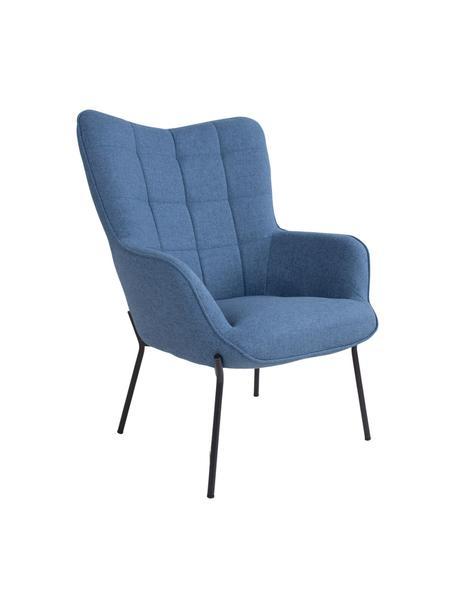 Sillón Claire, Tapizado: poliester, Estructura: madera de pino, Patas: acero, Azul, negro, An 79 x F 70 cm