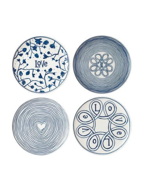 Gemusterte Frühstücksteller Love in Weiss/Blau, 4er-Set, Porzellan, Elfenbein, Kobaltblau, Ø 21 cm