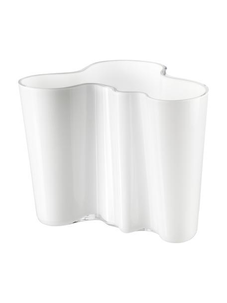 Kleine Design-Vase Alvar Aalto, Glas, Weiss, H 16 cm
