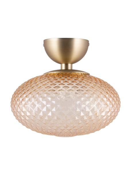 Plafondlamp Jackson, Lampenkap: glas, Amberkleurig, messingkleurig, Ø 28 x H 25 cm