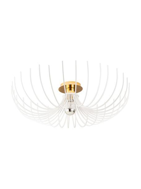 Lampa sufitowa z metalu Aspendos, Biały, odcienie mosiądzu, Ø 56 x W 16 cm