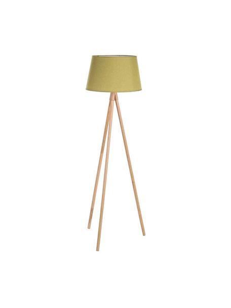 Lámpara de pieWallas, Patas: madera de roble, Pantalla: lino, Verde, Ø 52 x Al 152 cm