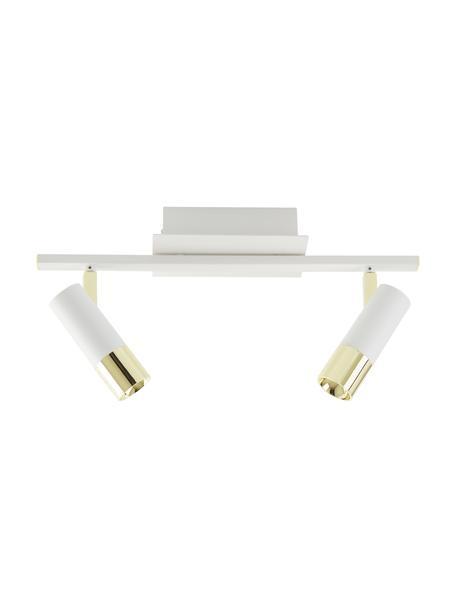 LED-Deckenstrahler Bobby in Weiß-Gold, Baldachin: Metall, pulverbeschichtet, Weiß, 47 x 13 cm