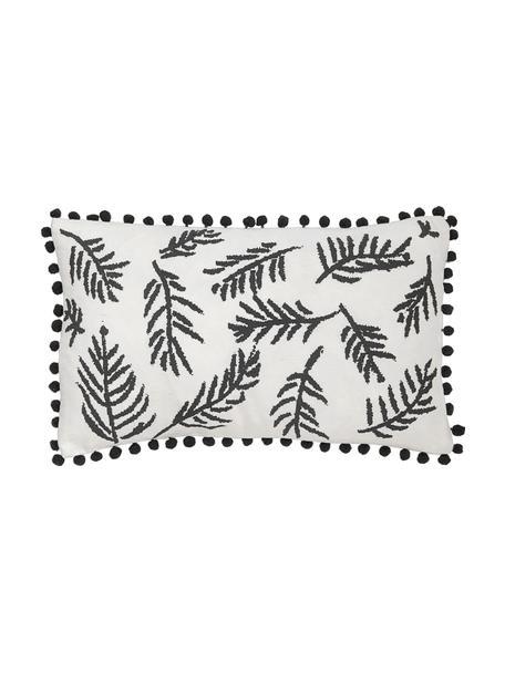 Kussenhoes Jungle met bladmotief en pompoms, Katoen, Wit, zwart, 30 x 50 cm