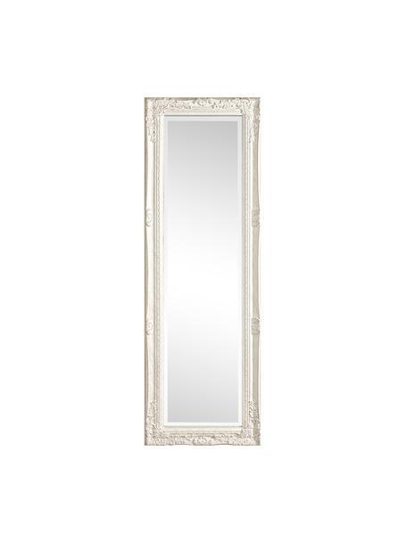 Specchio da parete quadrato con legno bianco Miro, Cornice: legno rivestito, Superficie dello specchio: lastra di vetro, Bianco, Larg. 42 x Alt. 132 cm
