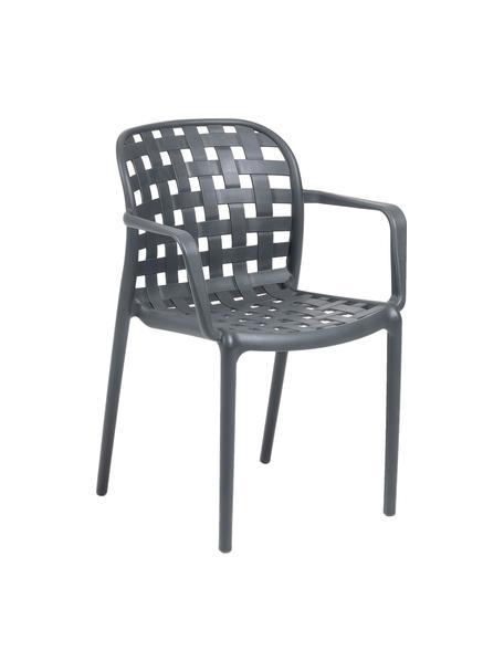 Stapelbare Gartenstühle Isa aus Kunststoff, 2 Stück, Kunststoff, Dunkelgrau, B 58 x T 58 cm