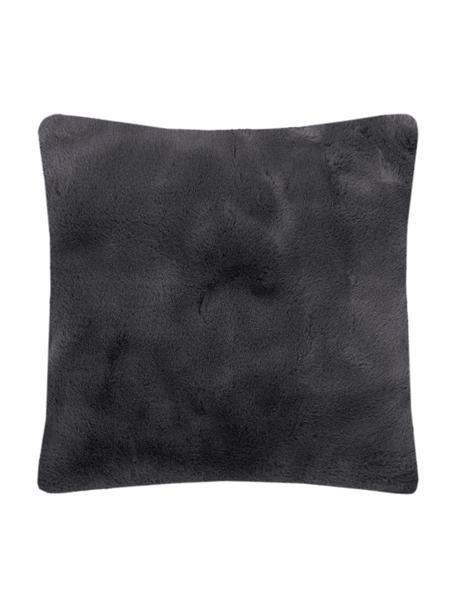 Poszewka na poduszkę ze sztucznego futra Mette, gładki, Ciemny szary, S 45 x D 45 cm