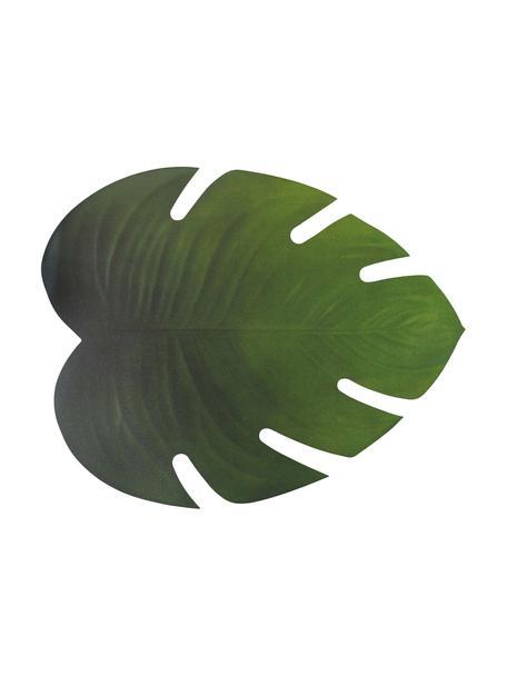 Kunststoffen placemats Jungle in bladvorm, 6 stuks, Kunststof (PCV), Groen, 37 x 47 cm
