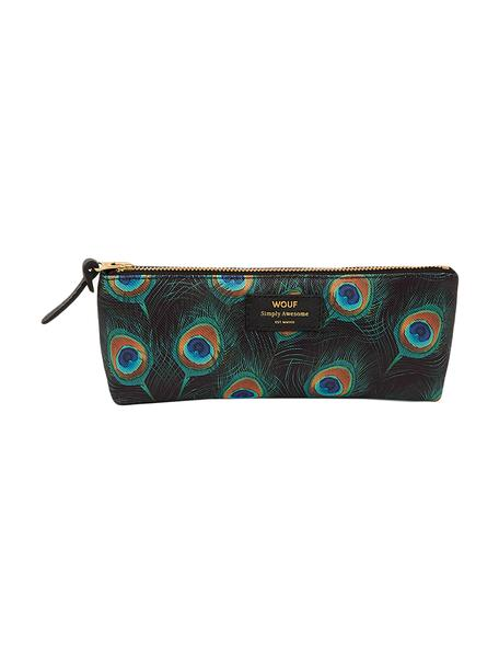 Stifte-Etui Peacock, Polyester, Leder, Schwarz, Mehrfarbig, 22 x 9 cm