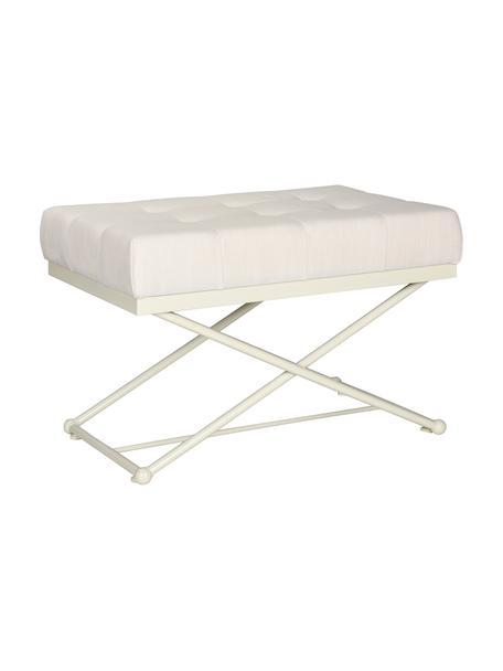 Weiße Sitzbank Chloe, Bezug: Leinen, Füße: Metall, lackiert, Ecru, Creme, 83 x 56 cm