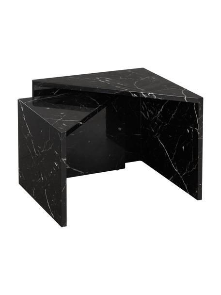 Couchtisch 2er-Set Vilma in Marmor-Optik, Mitteldichte Holzfaserplatte (MDF), mit lackbeschichtetem Papier in Marmoroptik überzogen, Schwarz, marmoriert, glänzend, Set mit verschiedenen Grössen